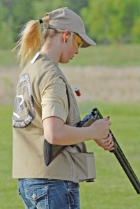 Apple Valley's Katelyn St. Ana reloads her shotgun during a trapshooting competition last week. Photo by Mike Shaughnessy.